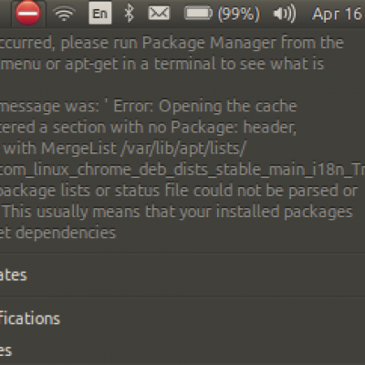 "Chrome – ""package list or status file could not be parsed or opened"""